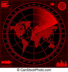 Radar screen with world map. Vector EPS10.