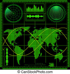 Radar screen with world map. Vector EPS8.