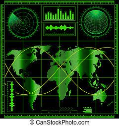 Radar screen with world map. Vector EPS8.
