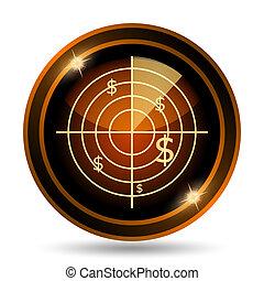 Radar searching money icon. Internet button on white...