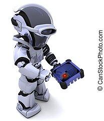 radar, spürhund, roboter, gps