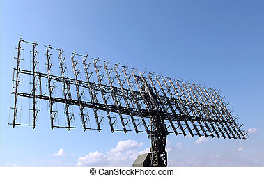 Radar - The military mobile radar station against the blue...
