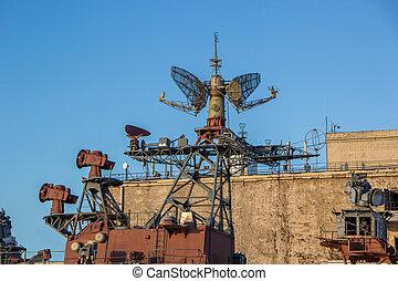 radar system of old battle ship