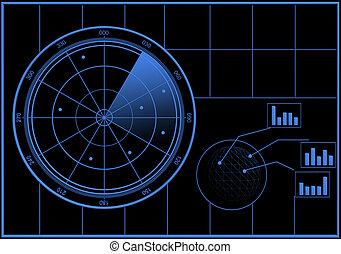 radar, tela, digital
