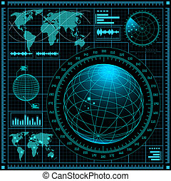 radar, tela, mapa mundial