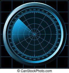 radar, tela, (sonar)