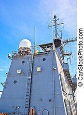radar tower on the modern warship
