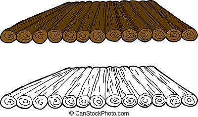 radeau bois, dessin animé