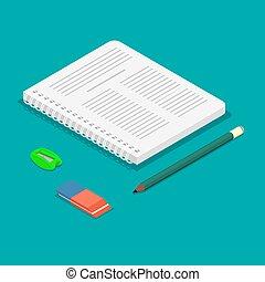 radergummi, blyertspenna, anteckningsbok