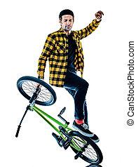 radfahren, bremsung radfahrer, reiter, hintergrund, freigestellt, weißes, bmx, akrobatisch, freistil