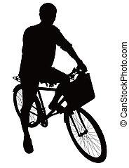 radfahren, und, fahrrad, silhouetten