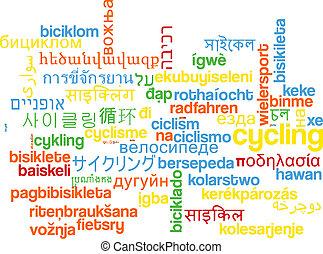 radfahren, wordcloud, begriff, multilanguage, hintergrund