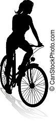 radfahrer, frau, fahrrad, fahren reiten rad, silhouette