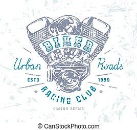 radfahrer, klub, emblem, für, t-shirt