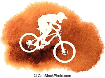 radfahrer, mountain-bike, silhouette, reiten
