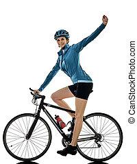 radfahrer, radfahren, fahrenden fahrrad, frau, freigestellt, weißer hintergrund, c