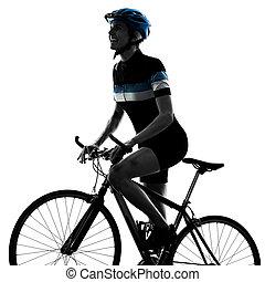 radfahrer, radfahren, fahrenden fahrrad, frau, freigestellt, weißer hintergrund, s