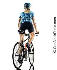 radfahrer, radfahren, fahrenden fahrrad, frau, freigestellt, weißer hintergrund