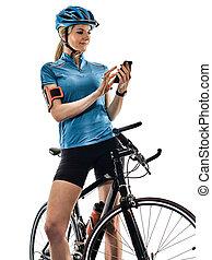 radfahrer, radfahren, fahrenden fahrrad, frau, freigestellt, weißer hintergrund, t
