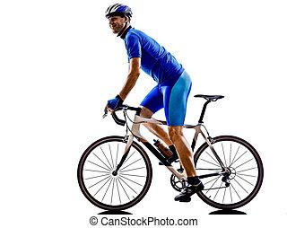 radfahrer, radfahren, straße, fahrrad, silhouette