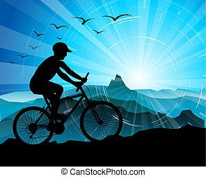 radfahrer, silhouette, mit, berge
