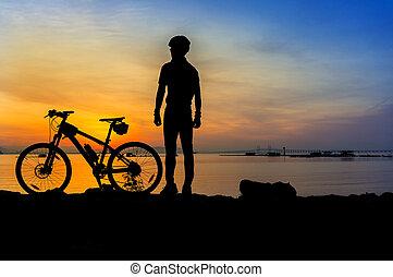 radfahrer, silhouette, sonnenaufgang