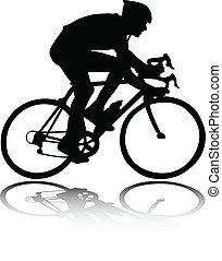 radfahrer, silhouette