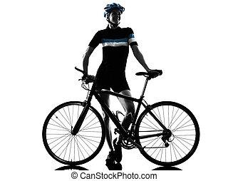 radfahrer, woman, kreist, freigestellt, fahrenden fahrrad, silhouette