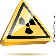 radiação, aviso, 3d, sinal, ícone, isolado, branco, experiência.