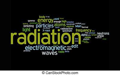 radiação, palavra, nuvens