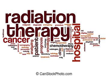 radiação, palavra, terapia, nuvem