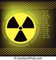 radiação, símbolo advertindo, vetorial
