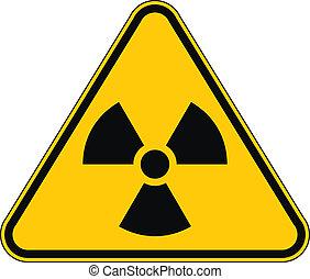 radiação, triangular, sinal