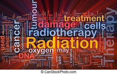 radiación, encendido, concepto, terapia, plano de fondo