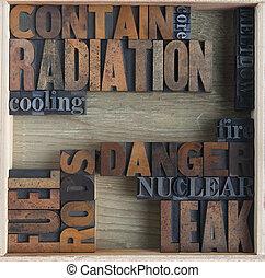 radiación, palabras, peligro