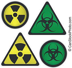 radiación, y, bio, peligro
