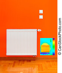 radiador, calentador, imagen térmica