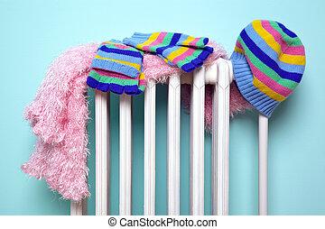 radiador, secar, meninas, luvas, chapéu, echarpe