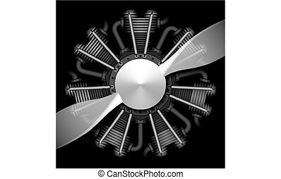Radial airplane engine with propeller