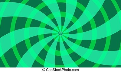 Radial green background with circles and lines.