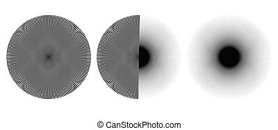 Radial burst lines circular element or background. Starburst or sunburst graphics as icon or logo.