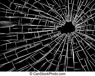 Radial cracks on broken glass.