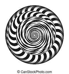 radial, espiral, con, rays., vector, psicodélico, illustration., torcido, rotación, effect., negro y blanco, vórtice, fondo.