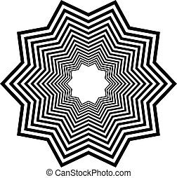 Radial geometric element series. Abstract black and white shape in concentric, circular style. Design elements with various distortion effects. Irregular geometric elements