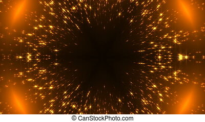 Radial gold kaleidoscope with glittering stars on black, many particles, celebratory 3d rendering backdrop