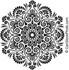 radial, mønster, geometriske