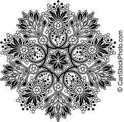 radial, ornamento, geométrico