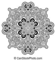 radial, ornement, géométrique