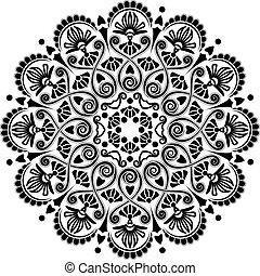 radial, patrón, geométrico