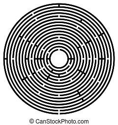 radial, pretas, labirinto, labirinto, grande, circular
